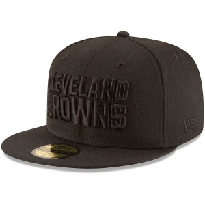 Men's Cleveland Browns New Era Black on Black 59FIFTY Fitted Hat 2265958
