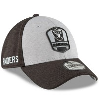 Men's Oakland Raiders New Era Heather Gray/Black 2018 NFL Sideline Road Official 39THIRTY Flex Hat 3058250