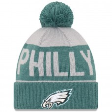 Men's Philadelphia Eagles New Era Gray/Midnight Green Super Bowl LII Champions Philly Cuffed Knit Hat with Pom 3095900