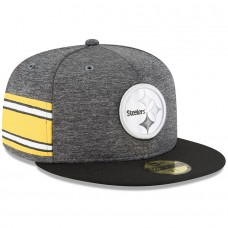 Men's Pittsburgh Steelers New Era Heather Gray/Black 2018 NFL Sideline Home Graphite 59FIFTY Fitted Hat 3058420