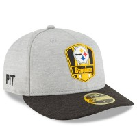 Men's Pittsburgh Steelers New Era Heather Gray/Black 2018 NFL Sideline Road Low Profile 59FIFTY Fitted Hat 3058521