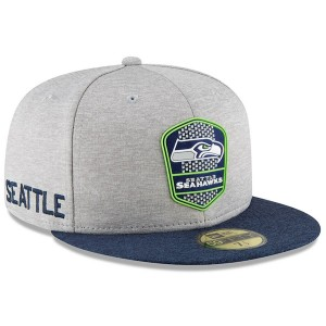 Men's Seattle Seahawks New Era Heather Gray/Navy 2018 NFL Sideline Road Official 59FIFTY Fitted Hat 3058387