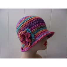 "HANDMADE CROCHET CLOCHE  FLAPPER STYLE BEANIE  HAT ""INSTANT CLASSIC""  W/ FLOWER  eb-33462383"