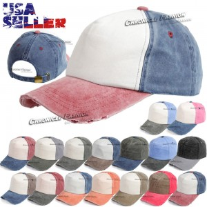 Baseball Hat 5 Panel Foam Front Washed Distressed Cap Colors Vintage Blank Solid  eb-97365487