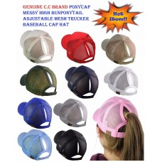 C.C Ponycap Messy High Bun Ponytail Adjustable Mesh Trucker Baseball CC Cap Hat  eb-95429348