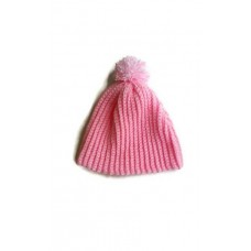 Handmade crochet womens pink beanie hat with pink and white pom pom  eb-76532387