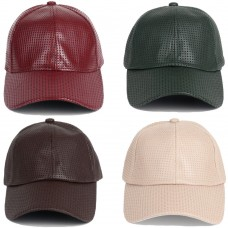 Perforated Faux Leather Baseball Hat Cap Pleather Hombre Mujer Plain Blank Texture  eb-68563784