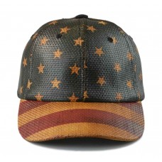 Baseball Cap Curved Bill Stars and Stripes 100% Straw Paper SnapBack 2 Colors  eb-11337649