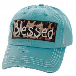 Blessed Embroidered Leopard Patch Factory Distressed Baseball Cap Turquoise Hat  eb-59853588