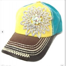 Bnwt's Olive & Pique 3 Tone Baseball Cap With Glass Crystal Flower Decor Cute  eb-85492395