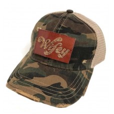 JUDITH MARCH NEW Wifey DISTRESSED SIGNATURE HAT PATCH Camo Trucker Cap WIFEY  eb-55179239