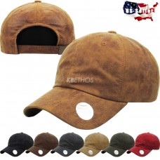 6 Panel Faux PU Leather Dad Hat Baseball Classic Adjustable Plain Cap  eb-68668787