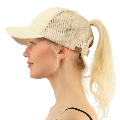 C.C Ponytail Messy Buns Trucker Ponycaps Plain Baseball Visor Cap Dad Hat  eb-87611643