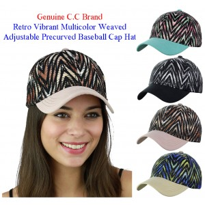 C.C Retro Vibrant Multicolor Weaved Adjustable Precurved Baseball CC Cap Hat  eb-19495521