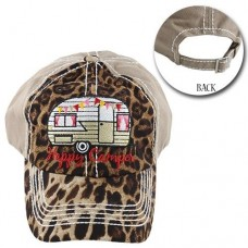 HAPPY CAMPER  Trailer Camper Cap Cheetah Beige Distressed Hat Adjustable  eb-79353330