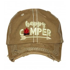 Happy Camper Embroidered  Hombre Mujer Factory Distressed Baseball Cap Khaki Hat  eb-18963766
