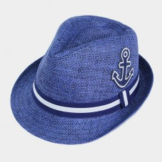 Straw Hat Anchor Patch Ribbon Band Fedora Beach Sun Block Nautical Boat BLUE  eb-14969534