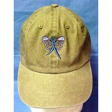Teal Awareness Ribbon Butterfly Baseball Hat Khaki Tan Cap Ovarian Cancer New  eb-09203167