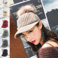 Winter Warm Cap Crochet Knit Knitted Baseball Hat Fox Fur Pompom Cap Mujer Girls  eb-39622209