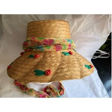 MUJER STRAW HAT W/SCARF HATBAND MADE IN ITALY Pinks Greens Blues  eb-60040934