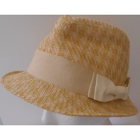 SCALA PRONTO  STRAW PAPER HAT FABRIC BOW  ONE SIZE NATURAL COLOR  eb-49851488