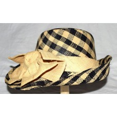 Onigo Hanmade Black & Yellow Checkered 100% Raphia Mujers Hat with Bow One Size  eb-88213222