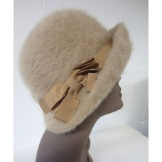 Vintage KANGOL FURGORA Camel Tan CLOCHE Dressy Church Hat England UK            eb-95473063