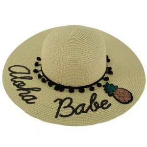 Fun Embroidery Wide Summer Derby Beach Pool Floppy Dress Sun Hat Aloha Babe  eb-85330755