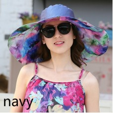 Lady Wide Brim Bucket Hat Summer Reversible Foldable Sun Beach Cap Exotic Travel  eb-53713036