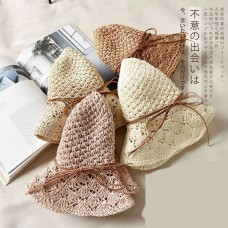 Mujer Folding Summer Beach UV Cap Wide Brim Bowknot Floppy Straw Sun Hat Khaki  eb-21324477