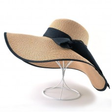 Mujer Summer Casual Wide Brim Sun Cap With Bowknot Ladies Vacation  eb-51651245