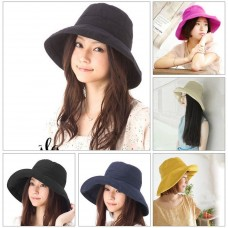 Mujer Summer Outdoors Beach Sun Hat Foldable Wide Brimmed Fisherman Hat Cap WD  eb-45086143