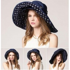 Mujer's AntiUV Wide Brimmed Foldable Hat 100% Cotton Summer Beach Visor Sun Cap  eb-51231577