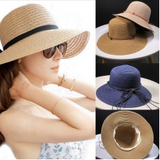 Mujers Ladies Summer Straw Hat Foldable Wide Brim Floppy Beach Sun Visor Cap VS  eb-56877336