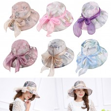 Mujers Lady Floral Hat Wide Brim Beach Hats Outdoor AntiUV Sun Protections Caps  eb-46386554