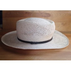 Mujers Straw Hat Silver Brown Belt Tan Summer Hat Stylish Look Made In USA  eb-01142657