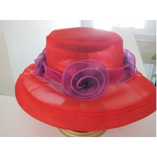 SCALA CLASSIC RED CHIFFON HAT WITH PURPLE ROSETTES  NWOT  eb-66759613