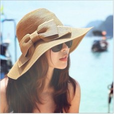 Summer Mujer Khaki Folding Beach Cap Wide Brim Bowknot Floppy Straw Sun Hat 363028067050 eb-55361857