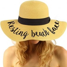 C.C Fun Verbiage Elegant Wide Brim 4 Summer Derby Beach Pool Floppy Dress Sun 818018023351 eb-12555271