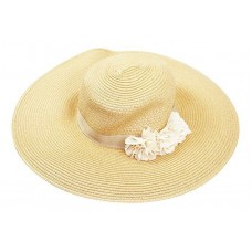 August Hat Company Mujer's Beige Wide Brim Floppy Floral Hat Mujers OS New NWT  766288171107 eb-14717057