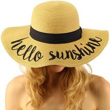 "Hello Sunshine Wide Brim 4"" Summer Derby Beach Pool Floppy Dress Sun Hat 799705295629 eb-86456254"