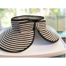 Charlie Paige Wide Brim Black and White Summer Beach Hat Bow Back Topless  eb-66073110