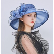 Mujers Kentucky Derby Church Summer Hats Large Brim Organza Party Wedding E109  eb-46535778