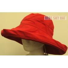 "RED 100% COTTON WOMEN LARGE 5"" WIDE BRIM BUCKET SUN UPF BLOCK 50+ CAP COVER HAT  eb-00557707"