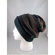 Beanie hat skully infinity scarf cap stretchy black brown stripes  eb-66116942