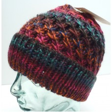 CAPPELLIFICIO FIORENTINO Woman's Beanie Pink/Orng/Teal Wool Blend Made Italy  eb-50419782