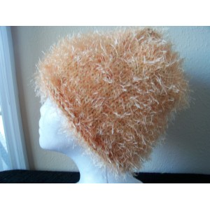 Hand knitted warm & soft beanie/hat  fuzzy soft peach  eb-41115382