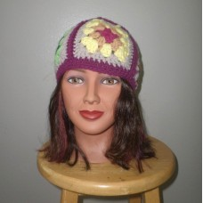 OLDTIMEY BABY multicolored knit hat 1970s flowers Gypsy sexy neofolk hippy  eb-79467445