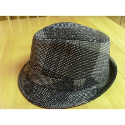 HOMBRE D&Y DAVID AND YOUNG GRAY CHECKS PLAIDS WOOL BLEND TRILBY FEDORA HAT  UNWORN  eb-70953672