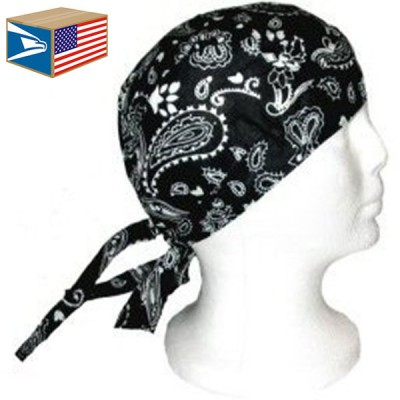 SKULL CAP Black Paisley WRAP DU DO DOO RAG DURAG TIE BACK BIKER MOTORCYCLE HAT 636764699558 eb-39578244